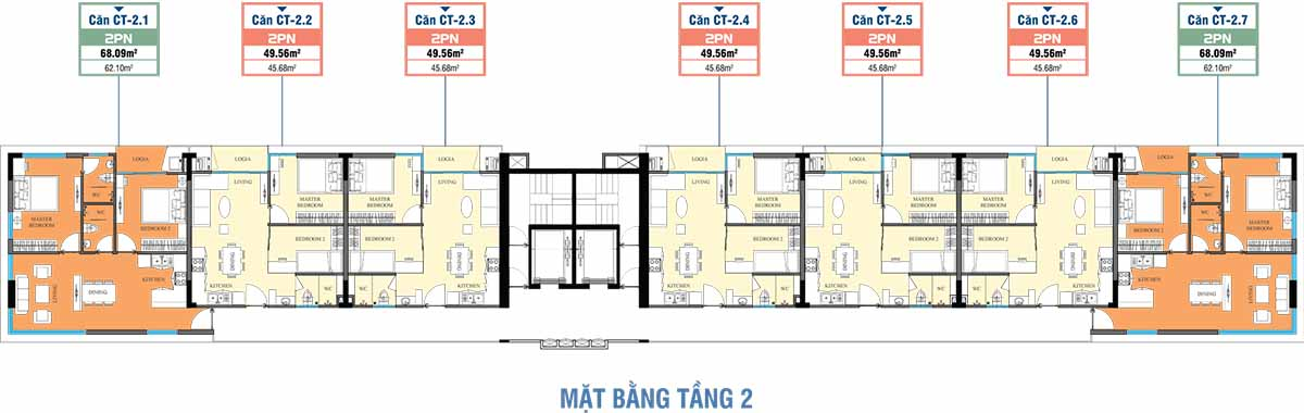 mặt bằng tầng 2 CT Home