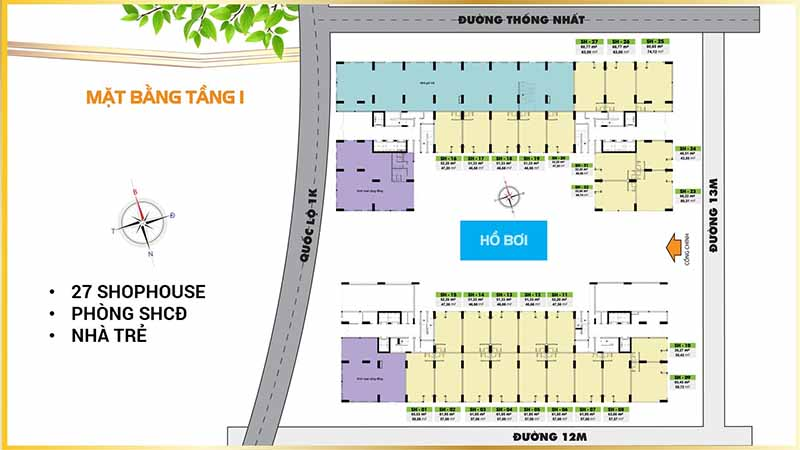 Mặt Bằng Tầng 1 - Bcons Plaza