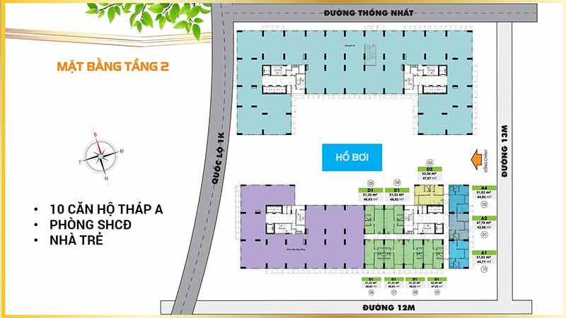 Mặt Bằng Tầng 2 - Bcons Plaza